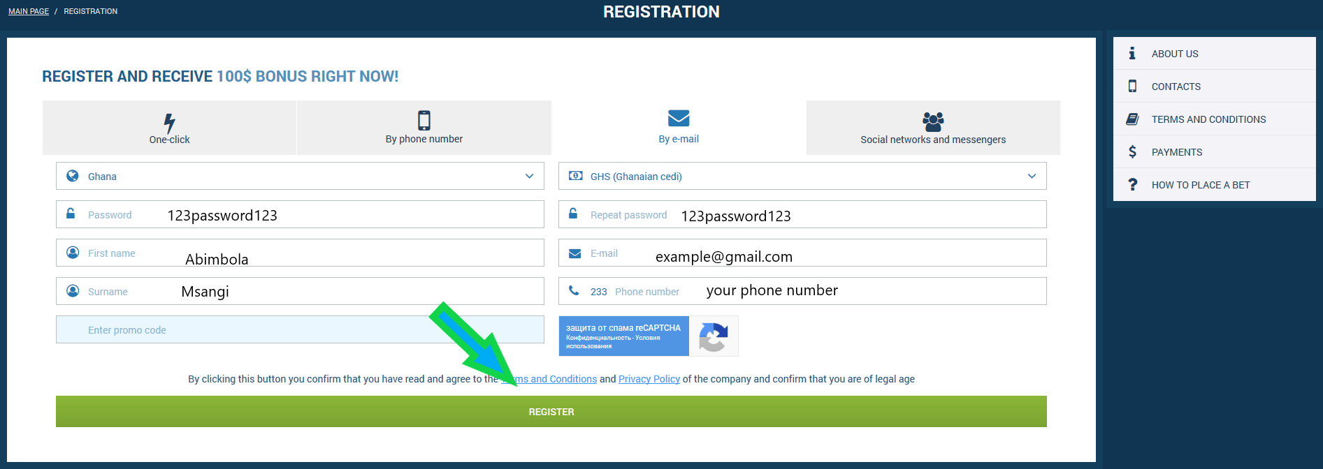 registration phone